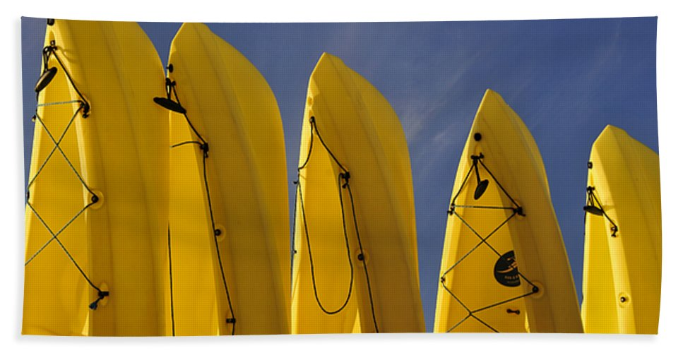 Fine Art Photography Hand Towel featuring the photograph Yellow Kayaks by David Lee Thompson