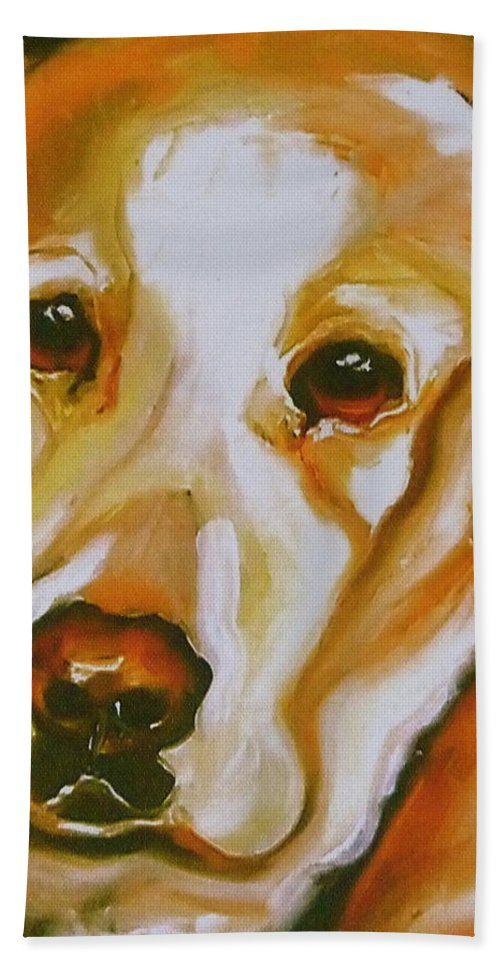 Oil Bath Sheet featuring the painting Yellow Lab Amazing Grace by Susan A Becker