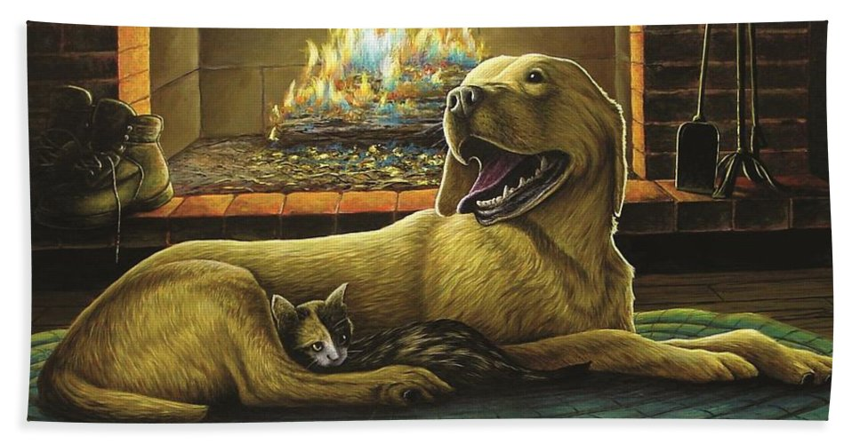 Yellow Lab Hand Towel featuring the painting Yellow Lab With Kitten by Anthony J Padgett