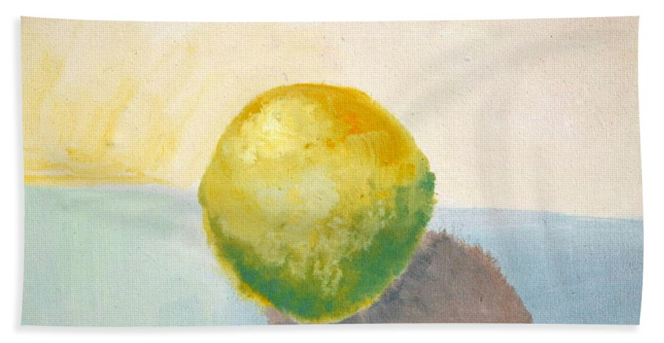 Lemon Bath Towel featuring the painting Yellow Lemon Still Life by Michelle Calkins