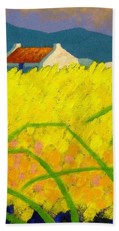 Irish Landscape Hand Towel featuring the painting yellow Meadow Ireland by John Nolan
