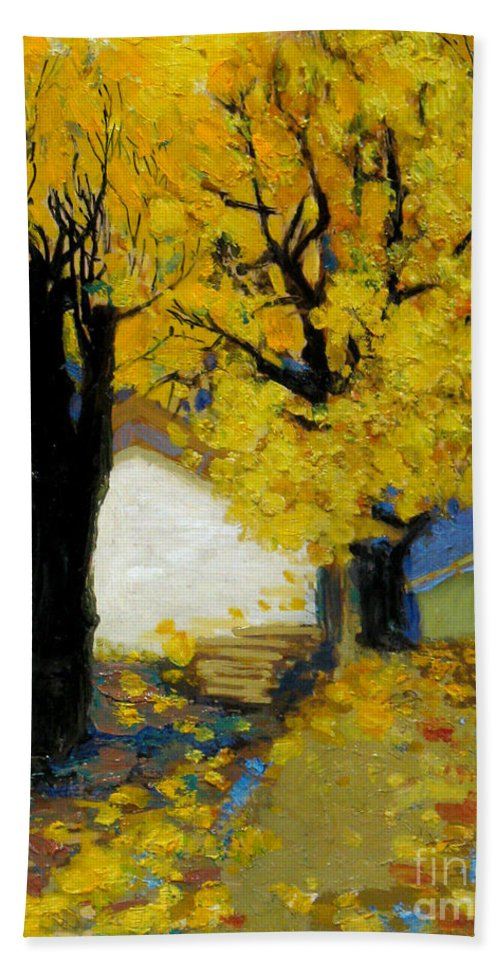 Yellow Bath Towel featuring the painting Yellow by Meihua Lu