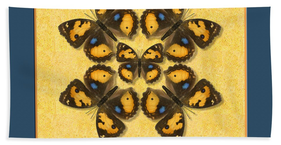 Butterfly Bath Sheet featuring the photograph Yellow Pansy Butterfly Wheel by Melissa A Benson