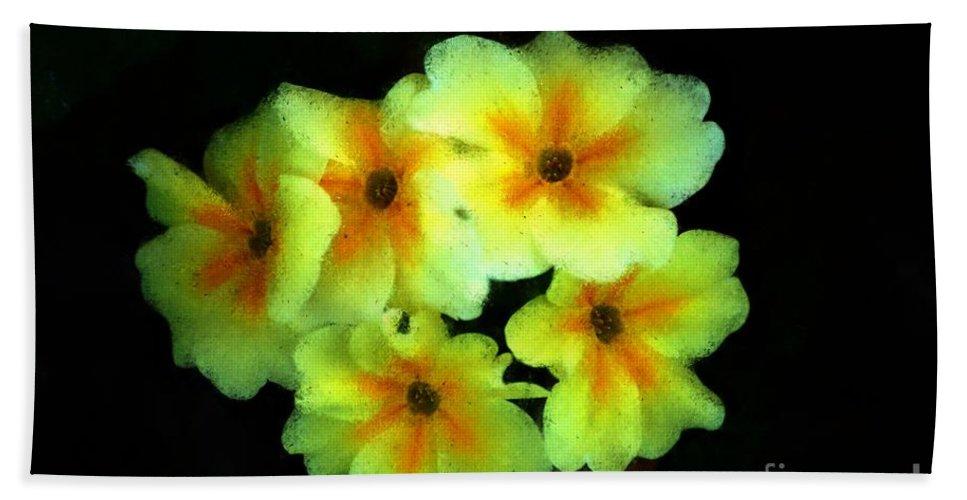 Digital Photo Hand Towel featuring the photograph Yellow Primrose 5-25-09 by David Lane