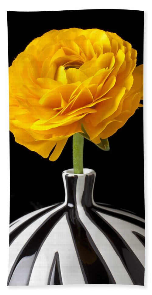 Yellow Ranunculus Bath Sheet featuring the photograph Yellow Ranunculus In Striped Vase by Garry Gay
