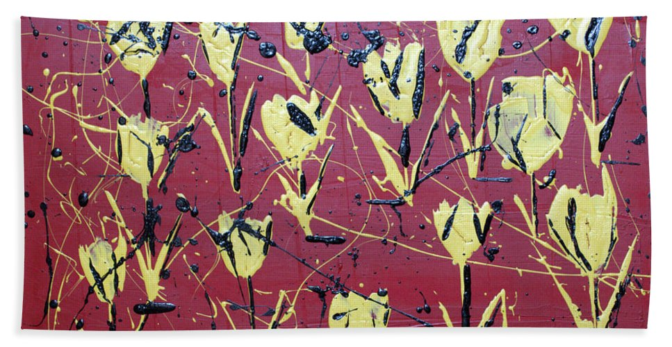 Abstract Hand Towel featuring the painting Yellow Red by J R Seymour