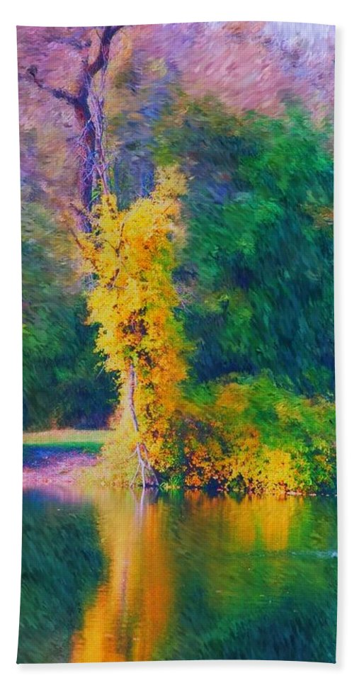 Digital Landscape Hand Towel featuring the digital art Yellow Reflections by David Lane