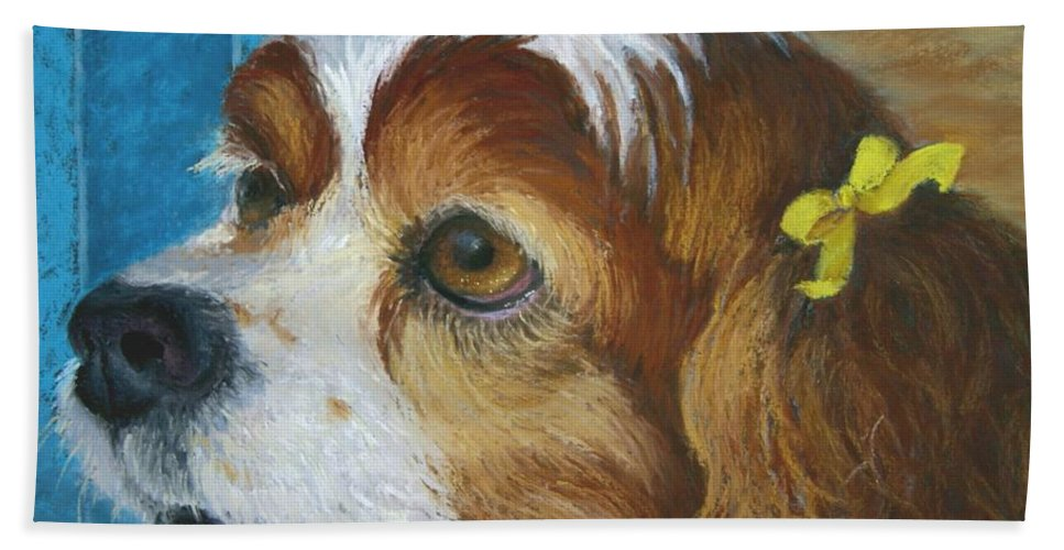 Spaniel Bath Sheet featuring the painting Yellow Ribbons Close-up by Minaz Jantz