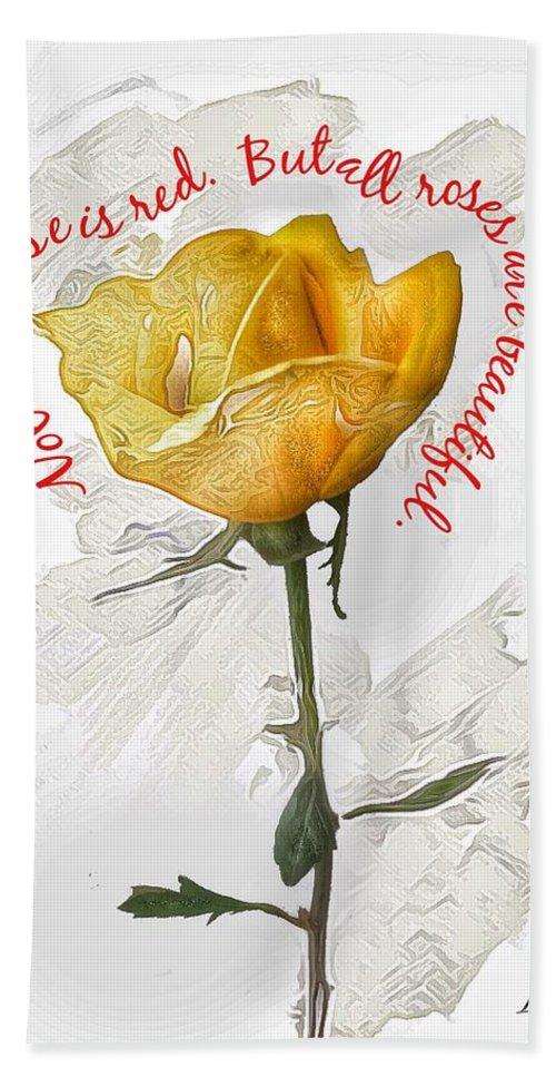Creative Editing Bath Sheet featuring the photograph Yellow Rose by Joe LeGrand