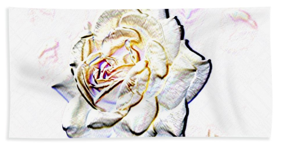 Rose Hand Towel featuring the digital art Yellow Rose by Tim Allen