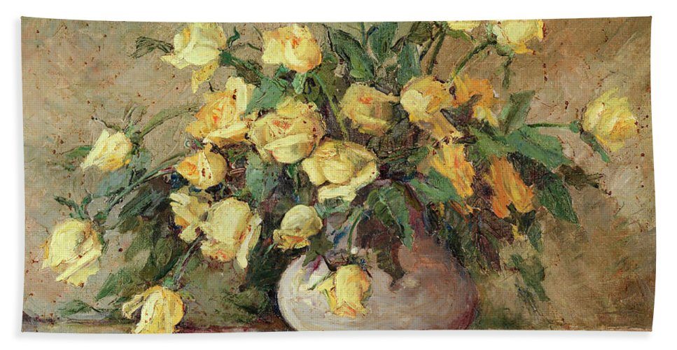 Yellow Roses Hand Towel featuring the painting Yellow Roses by Jeannette Agnew Lyon