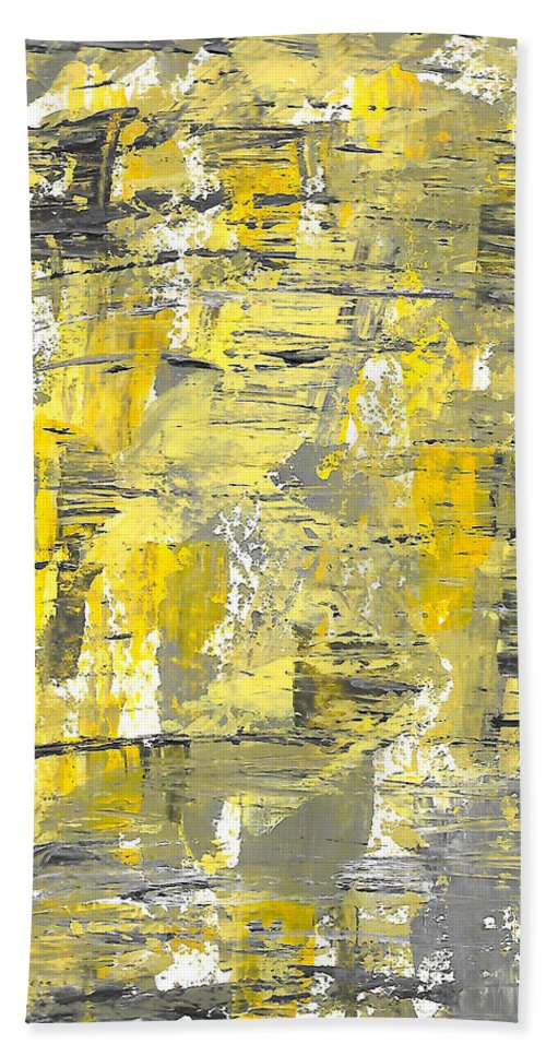 Acrylic Hand Towel featuring the painting Yellow Sadness by Brejenn Allen