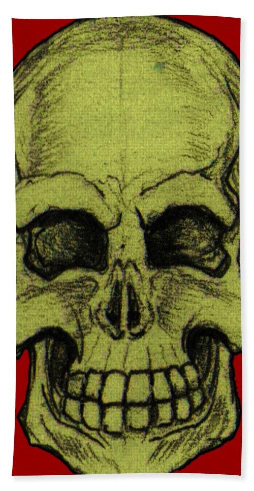 Skull Bath Sheet featuring the drawing Yellow Skull by Nikolaos Chantzis