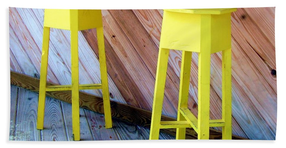 Yellow Bath Towel featuring the photograph Yellow Stools by Debbi Granruth
