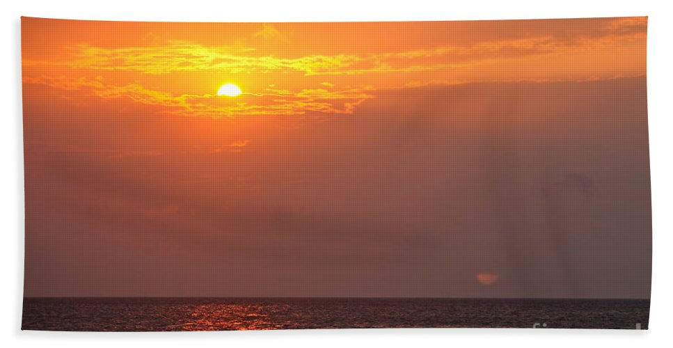 Birds Hand Towel featuring the photograph Yellow Sunrise And Three Birds by Nadine Rippelmeyer