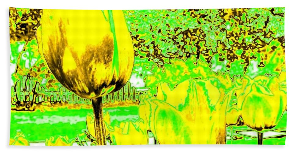Abstract Bath Sheet featuring the digital art Yellow Tulips Abstract by Will Borden