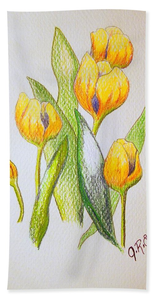 Stationery Card Hand Towel featuring the drawing Yellow Tulips by J R Seymour