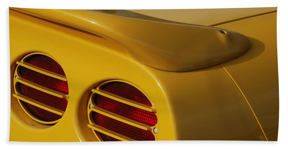 Corvette Hand Towel featuring the photograph Yellow Vette Lights by Rob Hans