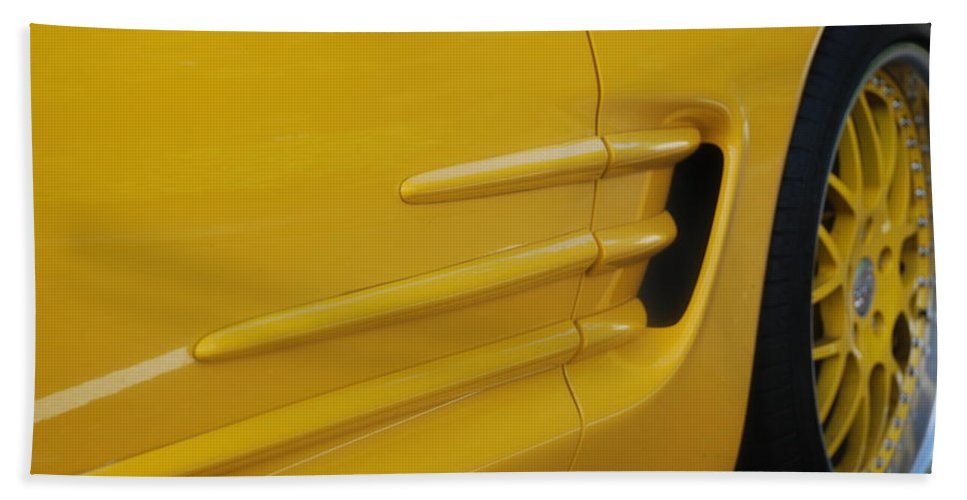 Corvette Bath Towel featuring the photograph Yellow Vette by Rob Hans
