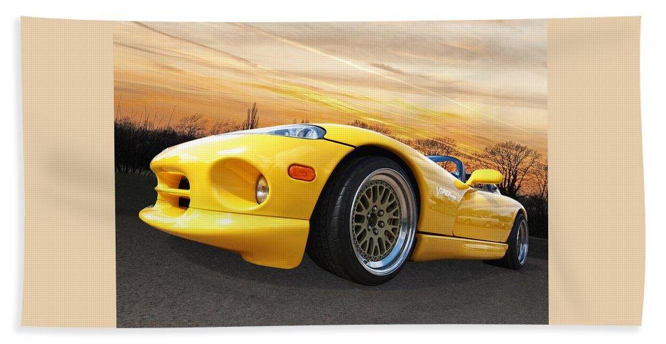 Dodge Viper Bath Sheet featuring the photograph Yellow Viper Rt10 by Gill Billington
