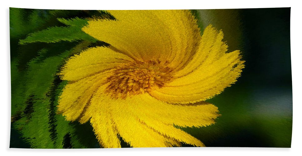 Yellow Hand Towel featuring the painting Yellow Wonder by David Lee Thompson