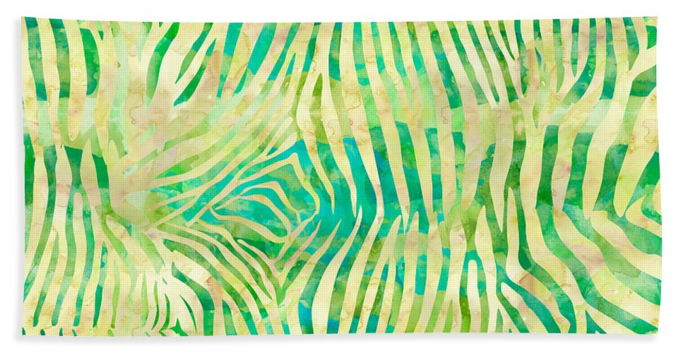 Painting Hand Towel featuring the painting Yellow Zebra Print by Aloke Creative Store