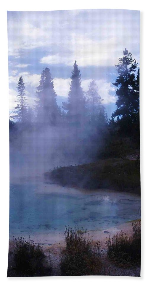 Yellowstone Hand Towel featuring the photograph Yellowstone Haze by Nelson Strong