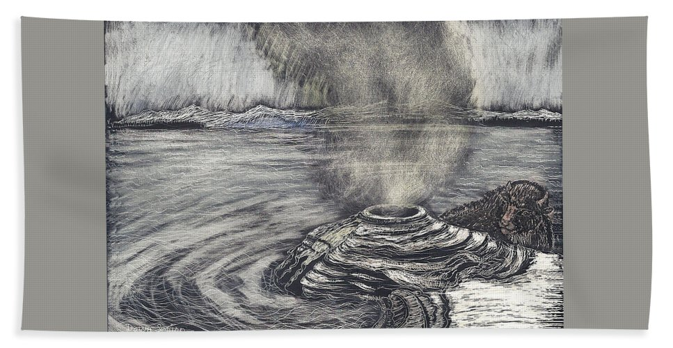 Yellowstone National Park Hand Towel featuring the drawing Yellowstone Lake by Dawn Senior-Trask
