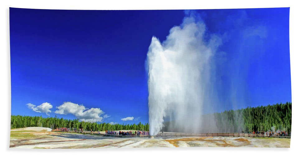 Yellowstone Bath Towel featuring the painting Yellowstone National Park Beehive Geyser by Christopher Arndt