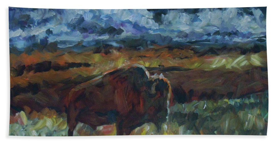 Buffalo Hand Towel featuring the painting Yesterday by Susan Moore