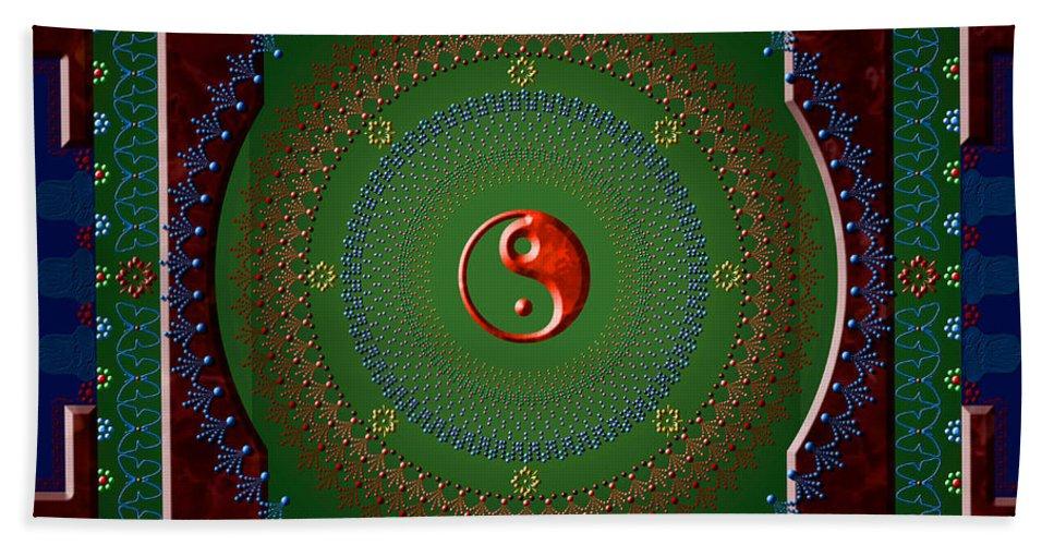 Mandala Bath Sheet featuring the digital art Yin Yang by Stephen Lucas