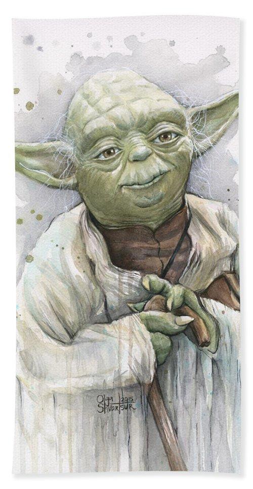 Yoda Bath Towel featuring the painting Yoda by Olga Shvartsur