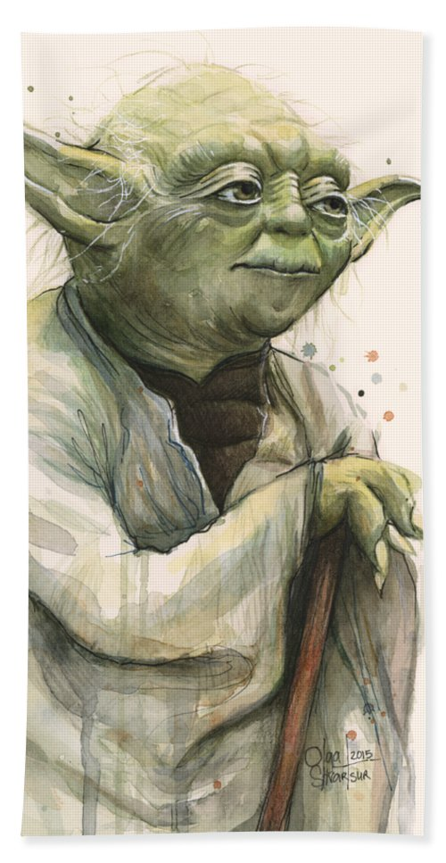 Yoda Bath Towel featuring the painting Yoda Portrait by Olga Shvartsur
