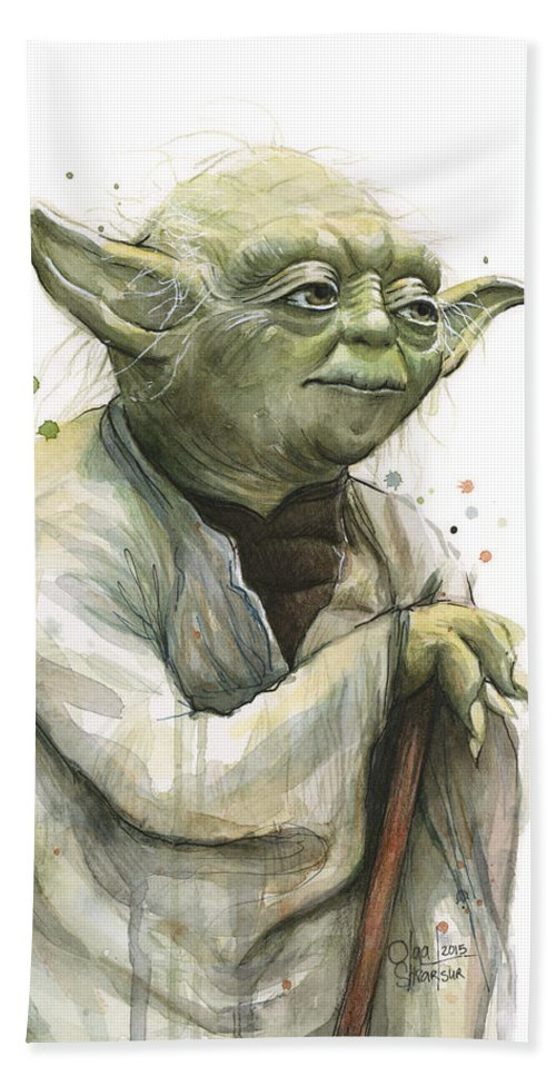 Yoda Bath Towel featuring the painting Yoda Watercolor by Olga Shvartsur