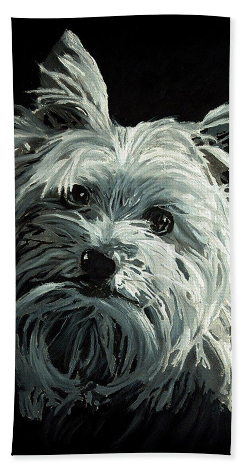 Animals Hand Towel featuring the painting Yorkie by Portraits By NC