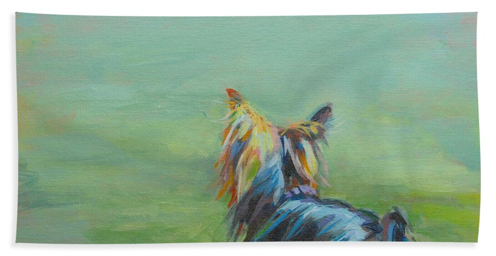 Yorkshire Terrier Bath Towel featuring the painting Yorkie in the Grass by Kimberly Santini