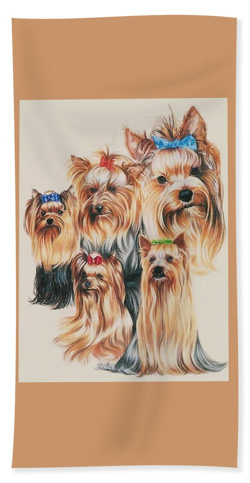 Purebred Hand Towel featuring the drawing Yorkshire Terrier by Barbara Keith