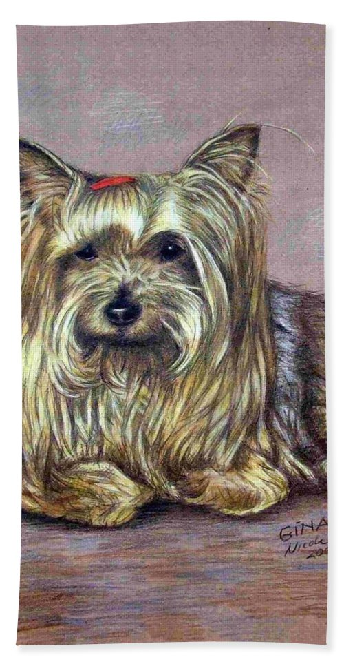 Dog Hand Towel featuring the drawing Yorkshire Terrier by Nicole Zeug