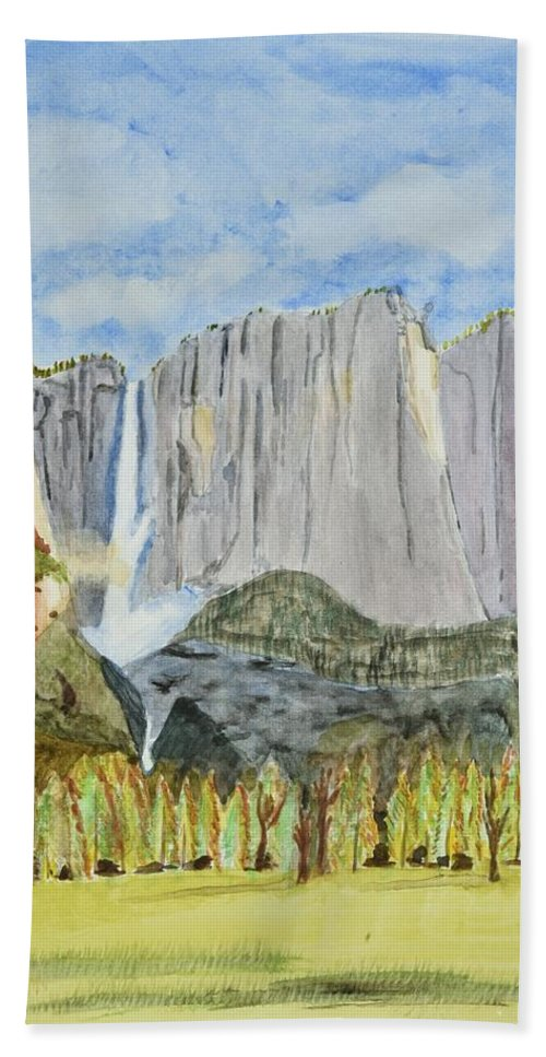 Linda Brody Hand Towel featuring the painting Yosemite Falls by Linda Brody
