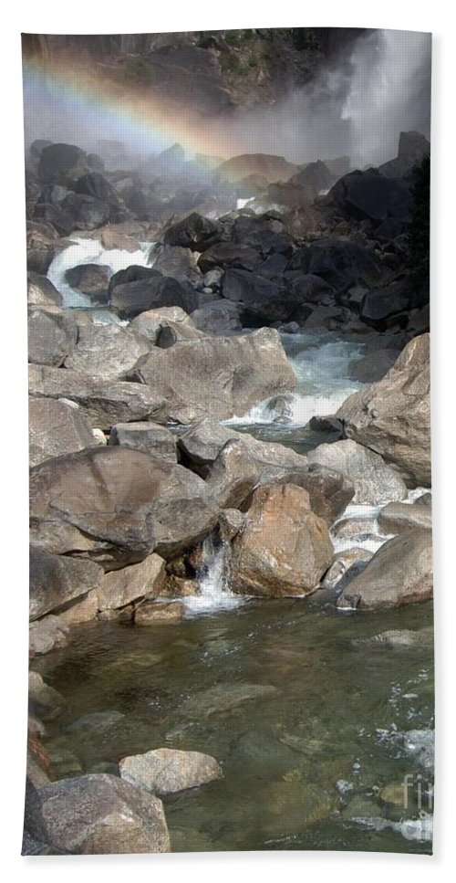 California Parks Bath Sheet featuring the photograph Yosemite Falls Rainbow by Norman Andrus