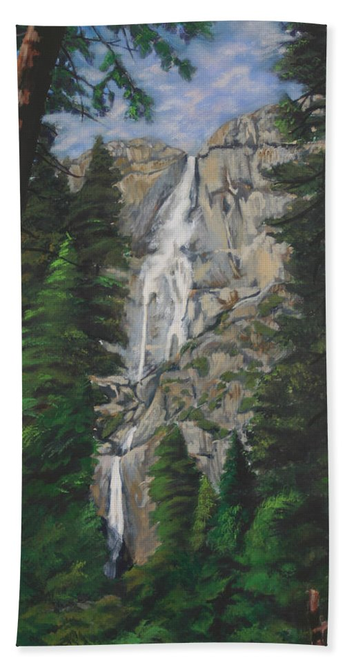 Landscape Bath Sheet featuring the painting Yosemite Falls by Travis Day