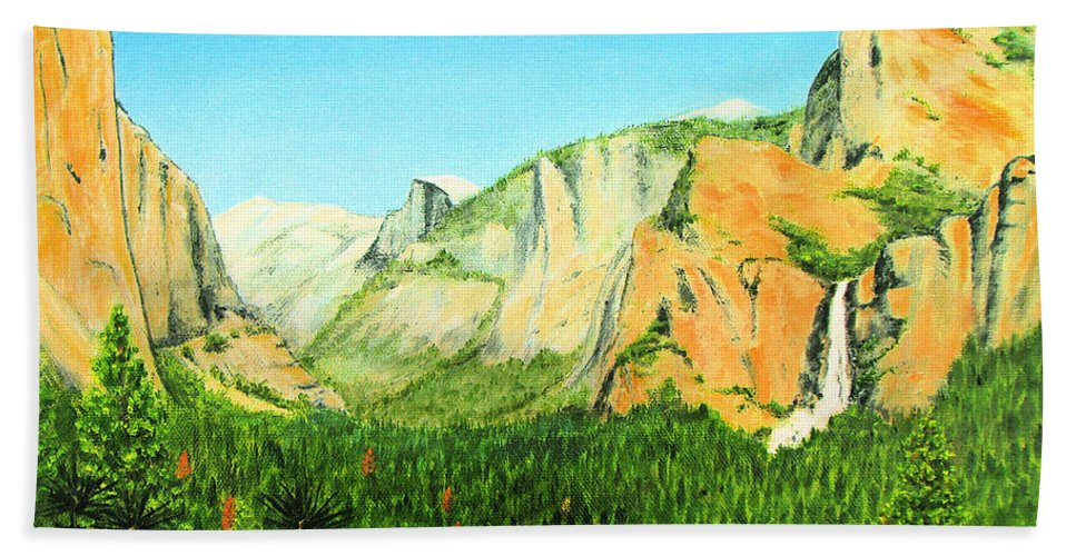 Yosemite National Park Hand Towel featuring the painting Yosemite National Park by Jerome Stumphauzer