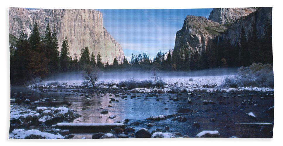 Yosemite Hand Towel featuring the photograph Yosemite Valley Winter by Steve Williams