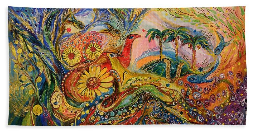Original Hand Towel featuring the painting Yotvata Village by Elena Kotliarker