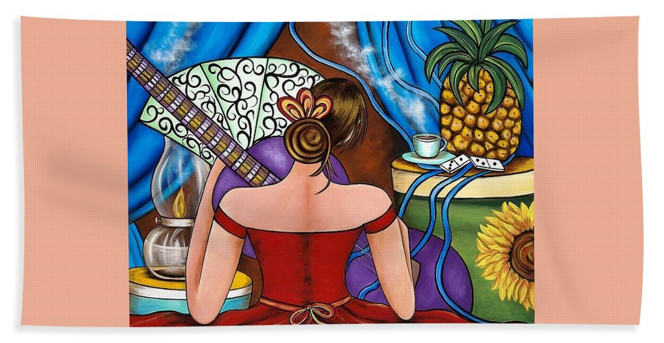 Cuba Bath Sheet featuring the painting You Belong To Me by Annie Maxwell