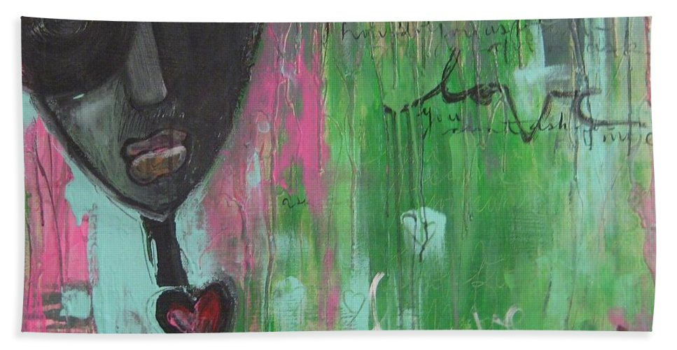 Figurative Bath Sheet featuring the painting You Cant Ask For More by Laurie Maves ART