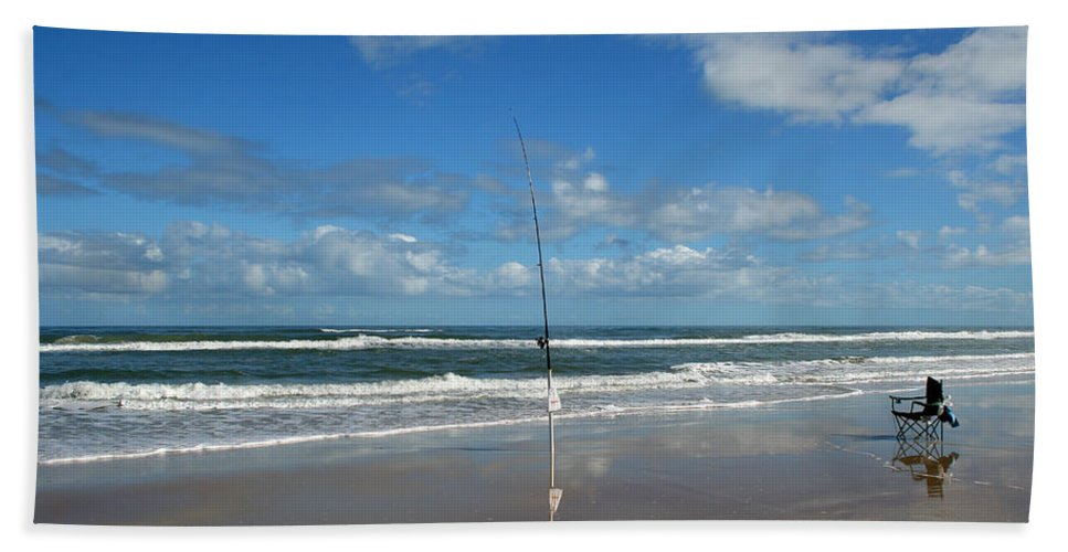 Fish Fishing Vacation Beach Surf Shore Rod Pole Chair Blue Sky Ocean Waves Wave Sun Sunny Bright Hand Towel featuring the photograph You Could Have Been There by Andrei Shliakhau