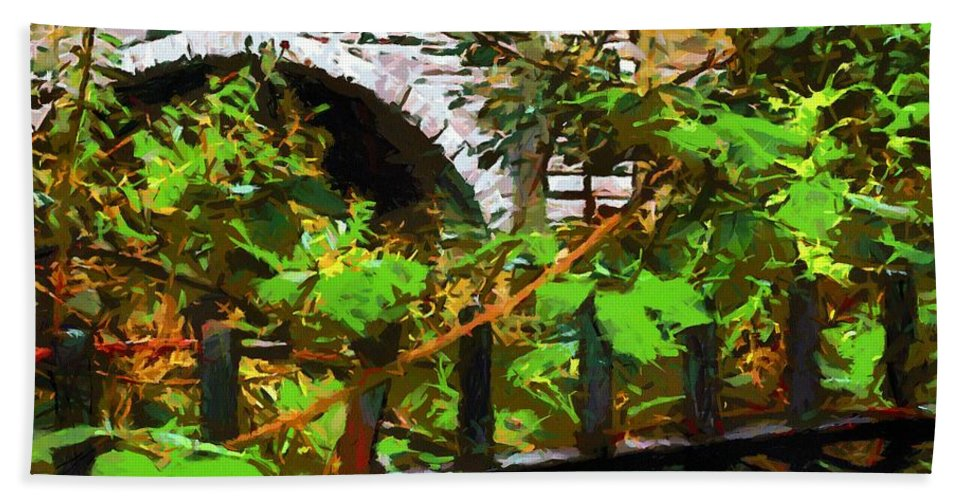 Fence Hand Towel featuring the painting You Go First by RC DeWinter