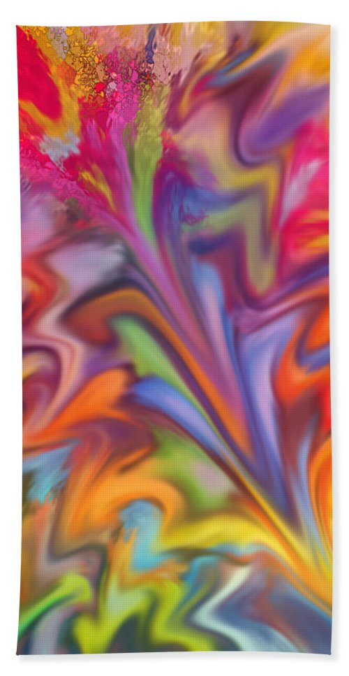 Abstract Hand Towel featuring the digital art You Got Color by Ian MacDonald