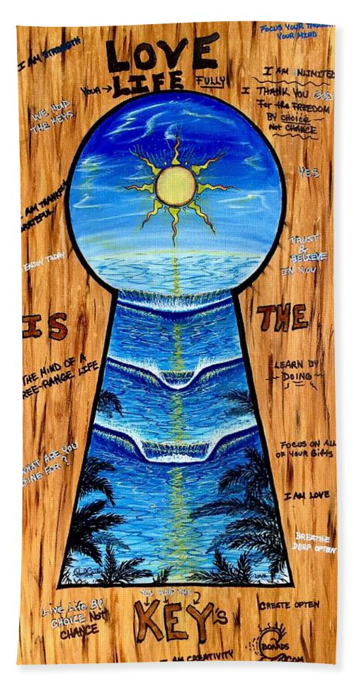 Keyholepainting Hand Towel featuring the painting You Hold The Keys by Paul Carter